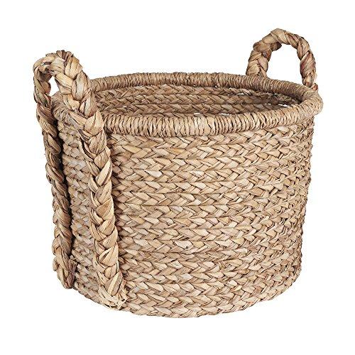 Household Essentials Large Wicker Floor Storage Basket with Braided Handle Light Brown