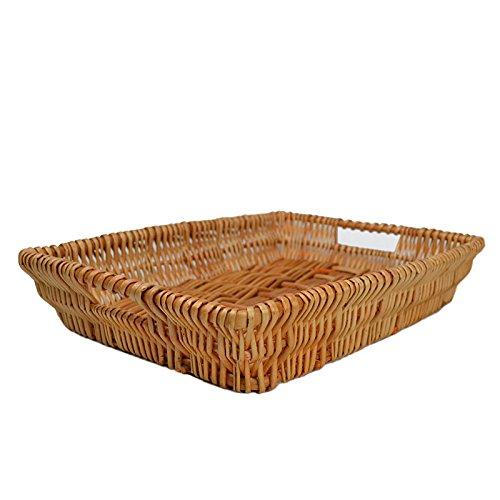 RURALITY Rectangular Wicker Storage Basket for Home Shops or Markets