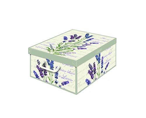Kanguru Collection Fragrant Lavender Decorative Storage Box with Handles and Lid 42 x 32 x 10 cm Multi-Colour
