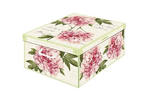 Kanguru Collection Midi Peony Decorative Storage Box with Handles and Lid 42 x 32 x 10 cm Multi-Colour