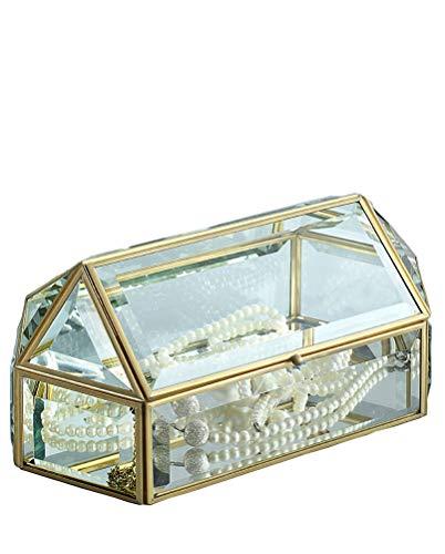 YinZhiBoo Makeup Organizer Box Glass Cosmetic Organizer Decorative Storage Box Handmade Vintage Brass Edge Bathroom Organizer with Lid for Jewelry Perfume Moisturizer