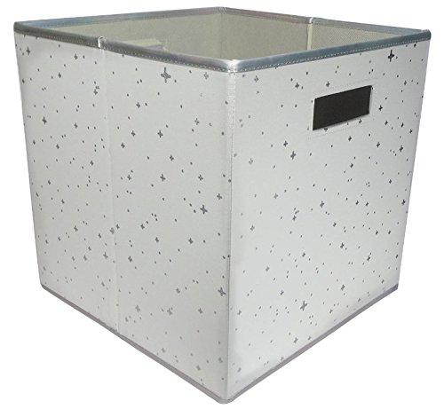 Fabric Cube Storage Bin 13x13 Mint Cream - White