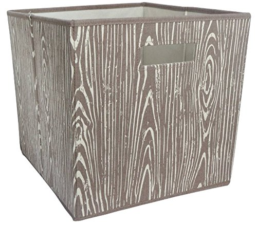 Fabric Cube Storage Bin 13x13 Mint Cream - Woodgrain
