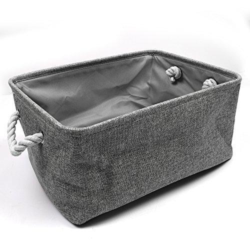 HEBE Foldable Fabric Storage Baskets Bins Washable Storage Baskets Organizers forShelvesToyBooksGift Grey Color