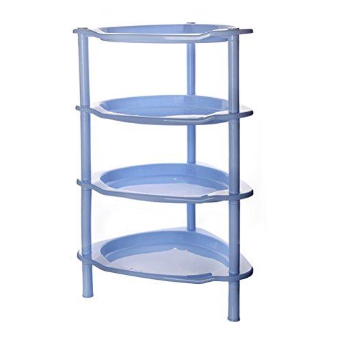 SUNLIGHTAM 4-Tier Bathroom Kitchen Storage Rack Holder Basket Organizer Shelf Blue