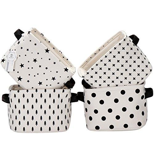 Sea Team Foldable Mini Square New Black and White Theme 100 Natural Linen Cotton Fabric Storage Bins Storage Baskets Organizers for Shelves Desks - Set of 4