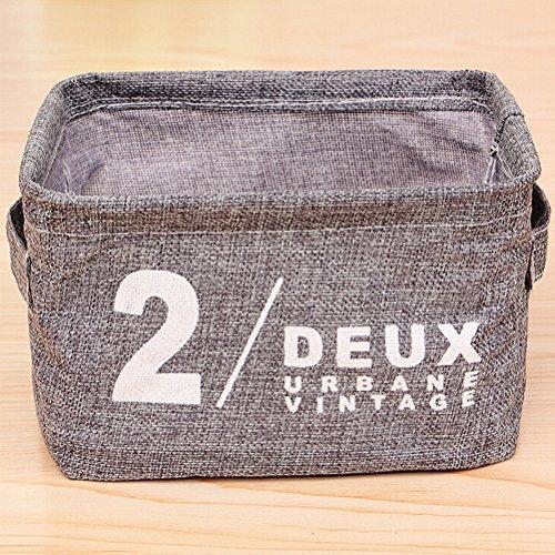 WINOMO Foldable Natural Linen Cotton Fabric Storage Bins Storage Baskets Organizers for Shelves Desks Grey