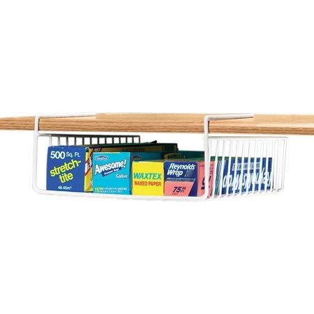 SCS Direct Under Shelf Wire Rack Basket Kitchen Organizer - White - Easy to Install 12 x 12 x 5