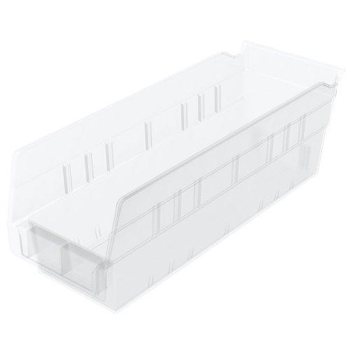 Akro-Mils 30120 12-Inch by 4-Inch by 4-Inch Clear Plastic Nesting Shelf Bin Box 24-Pack