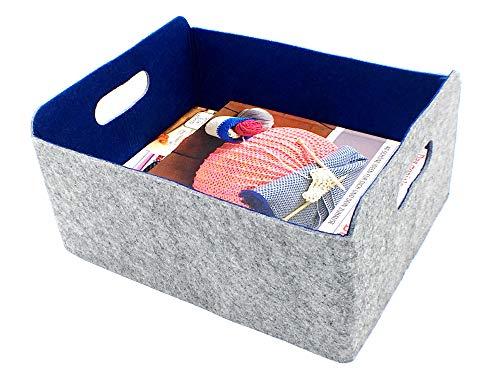 Welaxy Storage Baskets Felt Foldable Storage Cube bin Shelf Bins Organizer Felt Box for for Kids Toys Magazine Books Clothes for Office Bedroom Closet Babies Nursery Laundry Trending Classic Blue