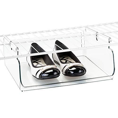 iDesign Tru-Grasp Plastic Wire Shelving Organizer Basket BPA-Free Under Shelf Hanging Bin for Bedroom Bathroom Kitchen Storage 1225 x 1075 x 48 Clear