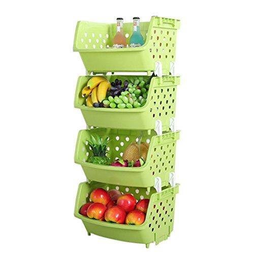 4Pack Market Baskets YIFAN Storage Basket Stacking Baskets Organizer for Fruits Vegetables Pantry Items Toys - Light Green
