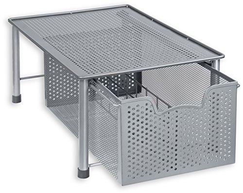 SimpleHouseware Stackable Cabinet Basket Drawer Organizer Silver