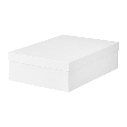 IKEA Tjena Storage Box With Lid White 90395422 Size 9 ¾x13 ¾x4