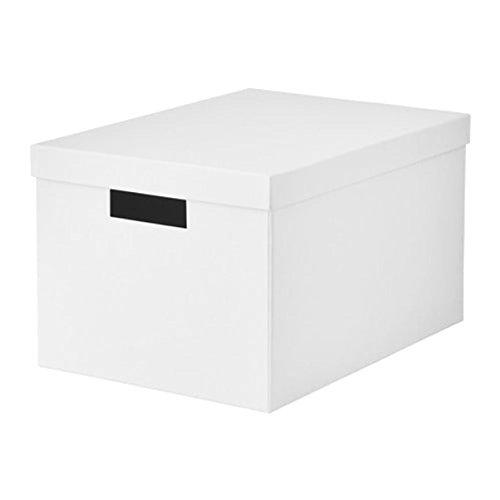 IKEA Tjena Storage Box With lid White 60395428 Size 9 ¾x13 ¾x7 ¾