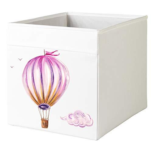 MintShake Custom IKEA Drona Storage White Box ExpeditKallax Insert - Girls Room Fairytale Theme Castle Hot Air Balloon Butterfly Princess Books Hot Air Balloon
