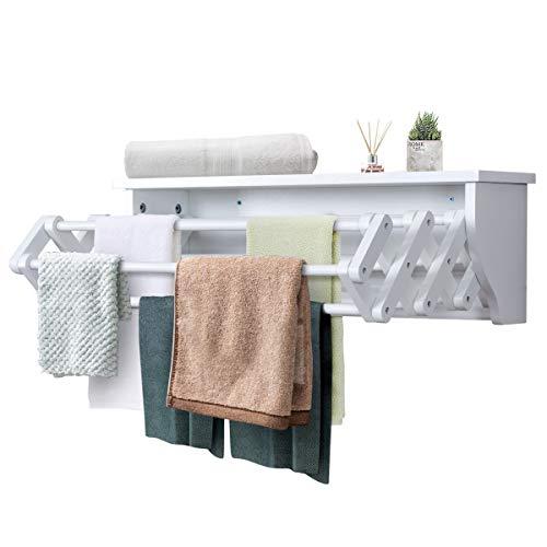 Tangkula Wall Mount Drying Rack Bathroom Home Expandable Towel Rack Drying Laudry Hanger Clothes Rack Wood