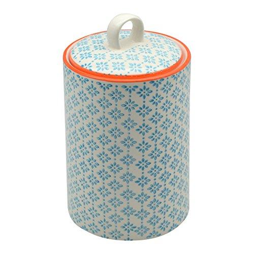 Nicola Spring Patterned Porcelain Tea  Coffee  Sugar Canister - Blue  Orange Print Design