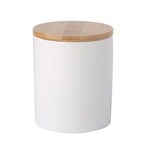 Ceramic canister storage jar tea jar container with bamboo lid airtight Matt White 8x10cm