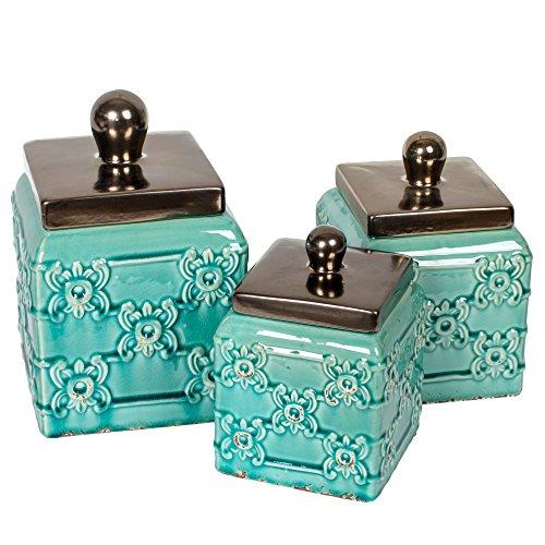 Drew Derose Turquoise 3 Piece Ceramic Distressed Finish Fleur de Lis Canister Set
