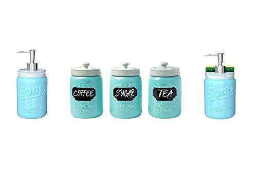 Mason Jar Design Soap Dispenser Toothbrush Holder  Mason Jar Kitchen Soap Dispenser Sponge Holder - Sink Organizer  Mason Jar Ceramic Canister Set for Kitchen
