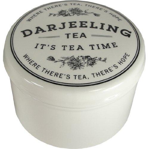 Darjeeling-Round Stoneware Vintage Style Tea Container