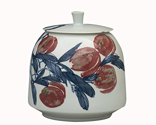 Pangu Porcelain Handmade【Fruity morning】Decorative canister with fruit patterns------Freehand painting