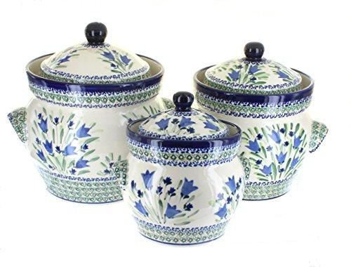 Polish Pottery Blue Tulip Large Canister Set