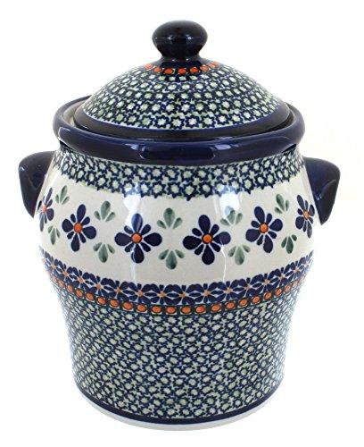 Polish Pottery Mosaic Flower Large Canister