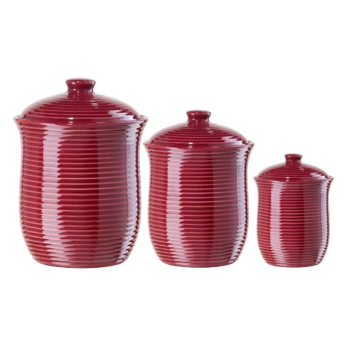 Oggi Red Ribbed Ceramic Food Storage Canisters Set of 3