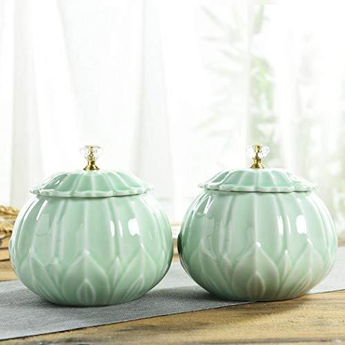 jessie Tea Caddy for Loose Tea Storage Ceramic Tea Canister Porcelain Jar for Spice Coffee Bean Green