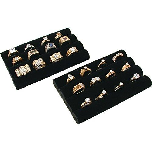 2 Black Velvet Ring Trays Jewelry Pad Showcase Displays 55