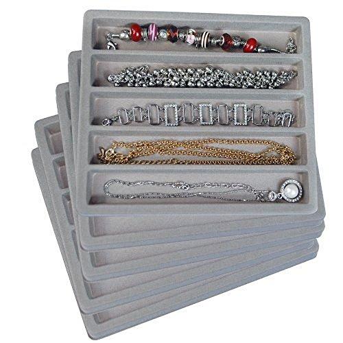 5 Gray 5 Slot 12 Size Jewelry Display Tray Inserts