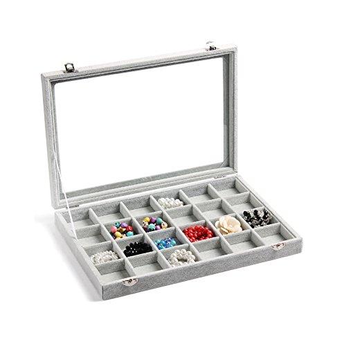 Valdler Clear Lid 24 Grid Jewelry Tray Showcase Display Storage