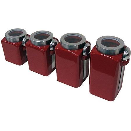 4-Piece Canister Set Crimson