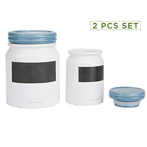 Mind Reader CJAR2S-BLU 2 pc Medium Small Ceramic Lids Round Canister Food Storage Jar Container One Size Blue 2 Piece Set