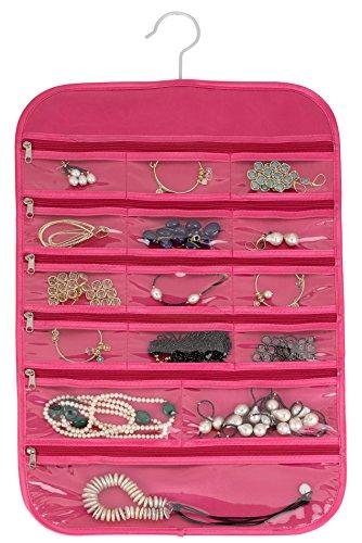 FloridaBrands 31-Pocket Hanging Jewelry Organizer Pink