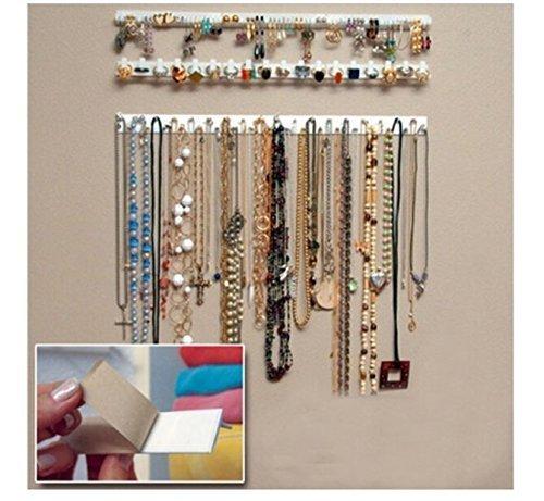 JC Arts 9 in 1 Adhesive Paste Wall Hanging Storage Hooks Jewelry Display Organizer Necklace Hanger