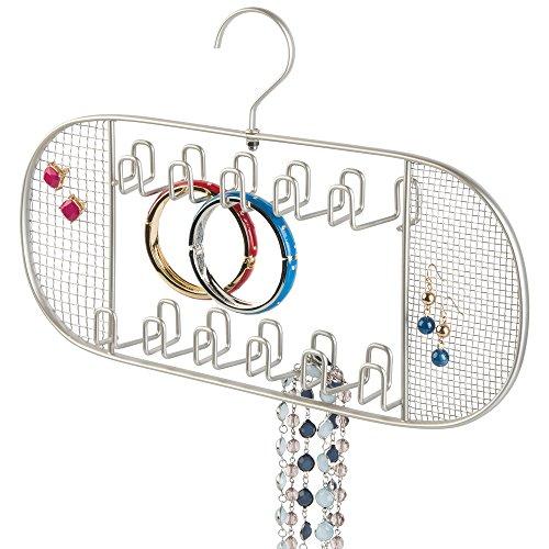 mDesign Hanging Jewelry Organizer for Closet Storage - 22 Hooks Satin