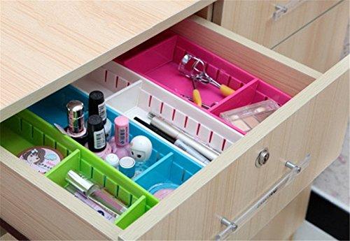 Hever Creative Storage Drawers Drawer Organizers Adjustable Drawer Dividers for Kitchen Drawer Storage Makeup Storage Box Set of 4