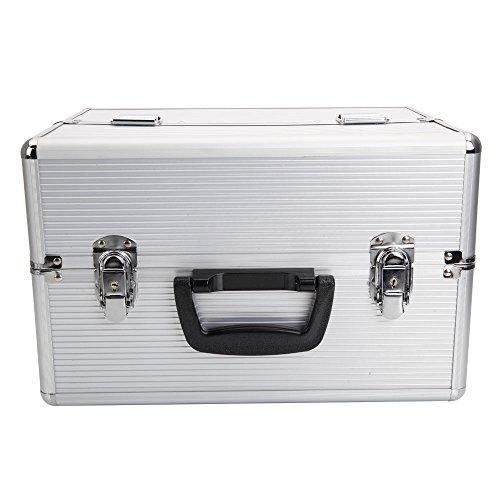 Valuebox Folding Aluminum Makeup Train Case Jewelry Cosmetic Box Tray Storage Display Lockable OrganizerWhite 14x 9x 10