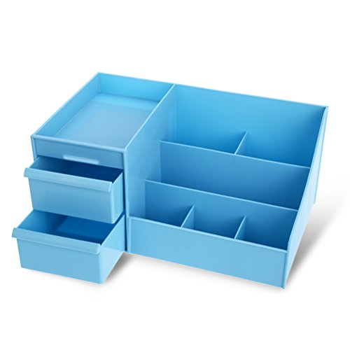 Frcolor Cosmetic Organizer Makeup Storage with Drawers Blue