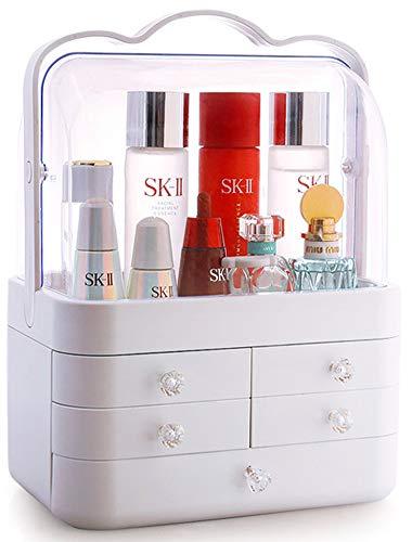 Sooyee Makeup Organizer Modern Cosmetic Storage Holder with Handle Make up Caddy Shelf Organization Display Boxes Case on Countertop Waterproof Dustproof 5 Drawers