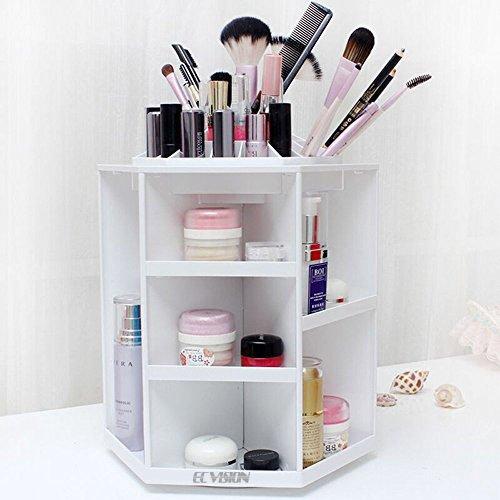 ECVISION Makeup Organizer Large Capacity 360°Rotating Acrylic Cosmetics StorageRevolving Makeup OrganizerCosmetics Storage Case White