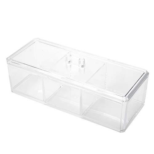 3 Grids Transparent Acrylic Cotton Swab Organizer Makeup Pads Storage Box Desktop Jewelry Lipsticks Case