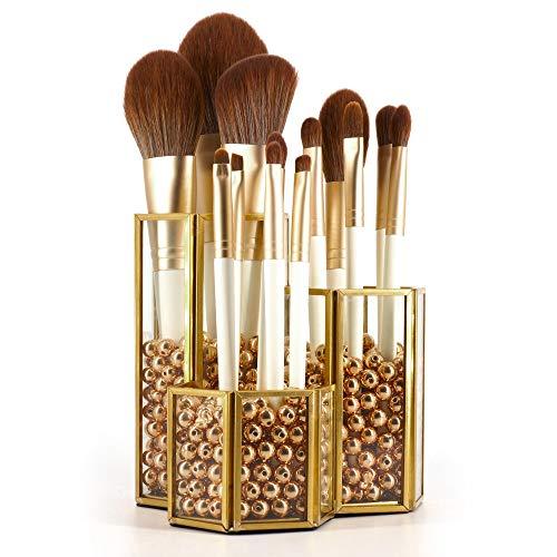 Crowned Gold Glass Makeup Brush Holder Handmade 3 Slot Copper Desk Organizer Desktop Clear Cosmetics Organizer Lipstick Storage with Free Pearls - 001