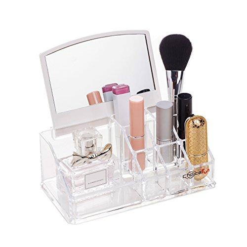 Choice Fun Acrylic Mini Makeup Organizer Tray 9 Compartments with Mirror Transparent QFJJSN-NSF-1032M