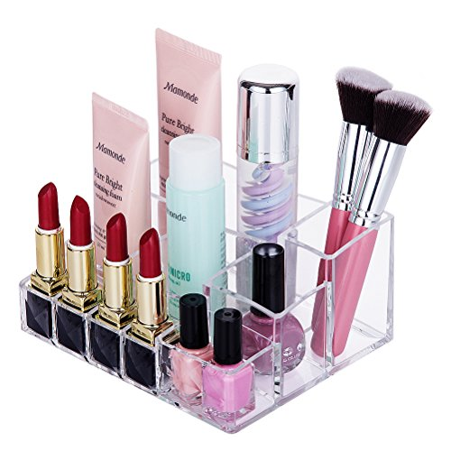 HBlife Clear Acrylic Makeup Organizer Tray Cosmetic Storage 10 Compartment