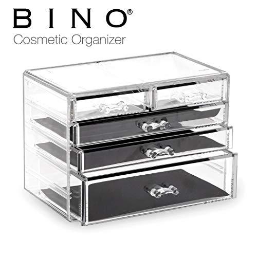 BINO 5 Drawer Acrylic Jewelry and Makeup Organizer Clear Cosmetic Organizer Vanity Storage Display Box Make Up Organizers And Storage Makeup Stand