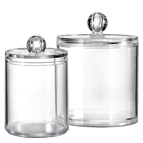 Bathroom Vanity Storage Organizer Canister Holder Apothecary Jars Set for QtipsCotton BallsSwabsRoundsMakeup SpongesBath SaltsPremium Plastic Acrylic Clear  10ozand 20oz